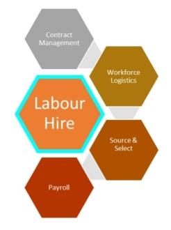 Service network cluster: e.g. labor hire & adjacent roles